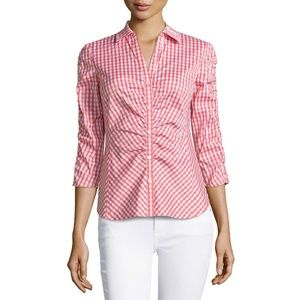 Lafayette 148 Leigh Ruched Check Blouse Shirt 16